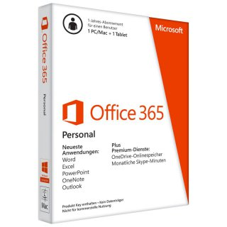 Microsoft Office 365 Pers. 1 Jahr f�r 1 PC/Mac+1 Tablet Word, Excel, PowerPoint